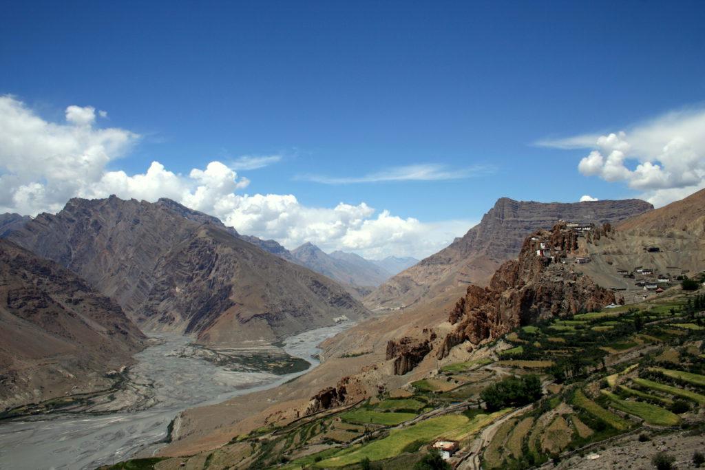 Spiti Valley; Kloster Dankhar am Zusammenfluss von Pin River und Spiti River.