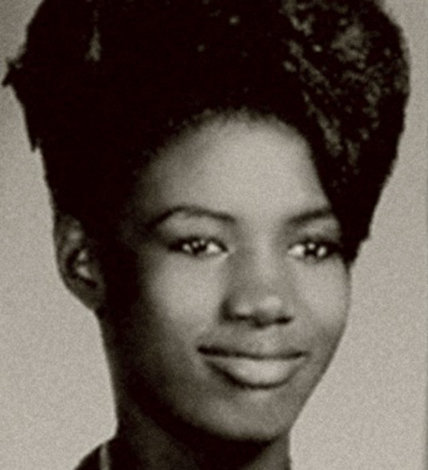 Cultivating her pioneering afro at High School, in the early 1960s.