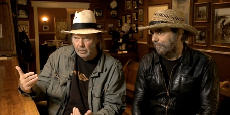 Neil Young and Daniel Lanois, talking about the album at one of Neil's favourite watering holes near his Broken Arrow Ranch.